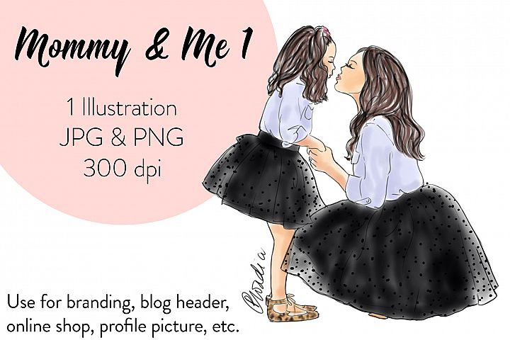 Fashion illustration clipart - Mommy & Me 1