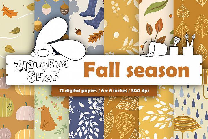Fall Digital Paper Autumn Digital Paper Fall Pattern
