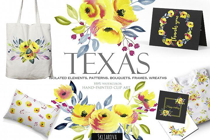 Texas. Yellow roses clip art.