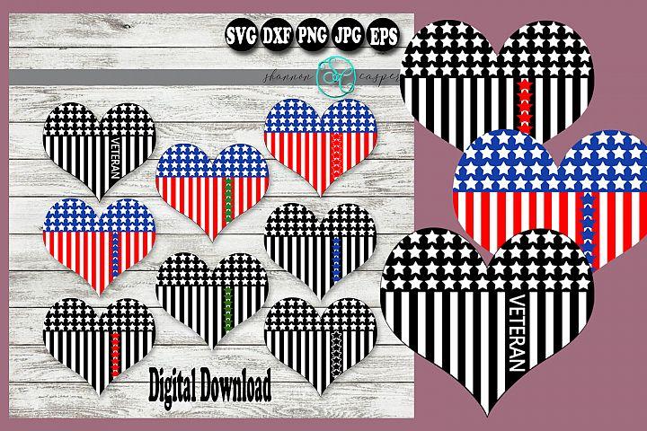 American Flag Heart Military Branch Color Veteran