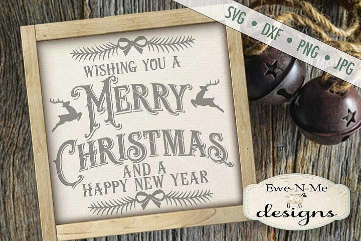 Merry Christmas Happy New Year Reindeer SVG DXF Files