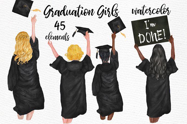 Graduation Clipart Watercolor Girls Graduating clipart