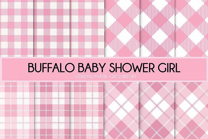 buffalo plaid baby shower girl