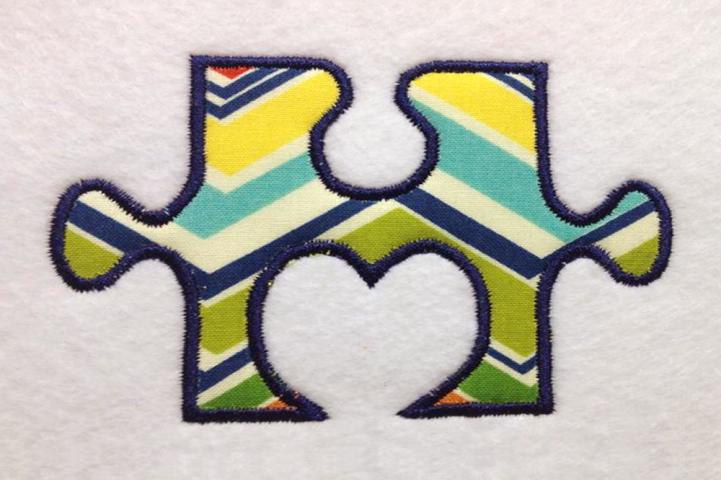 Heart Puzzle Piece Applique Embroidery Design