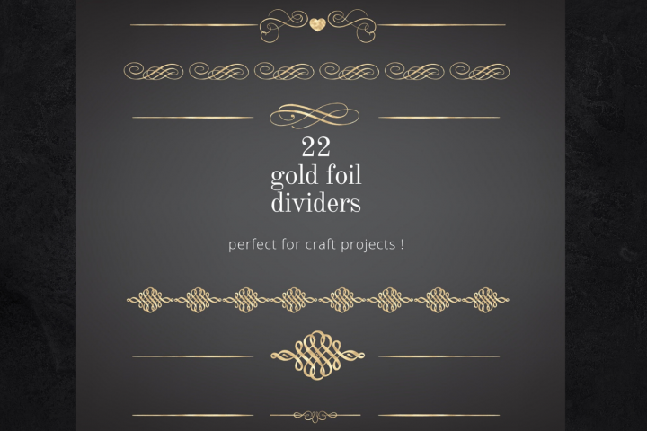 22 Page Dividers and Borders, Gold Foil Clipart Dividers