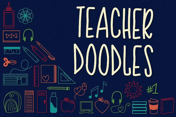 Teacher Doodles - A Dingbat Back To School Font