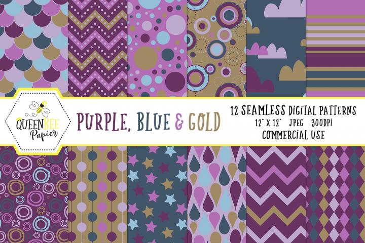 Purple, Blue Gold Seamless Digital Patterns