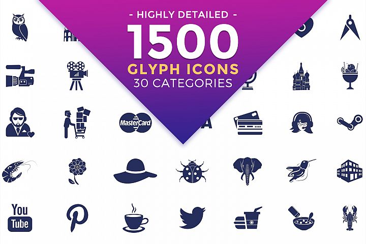 Glyph Vector Icons Bundle- Flat Filled Icons in SVG, PSD, AI