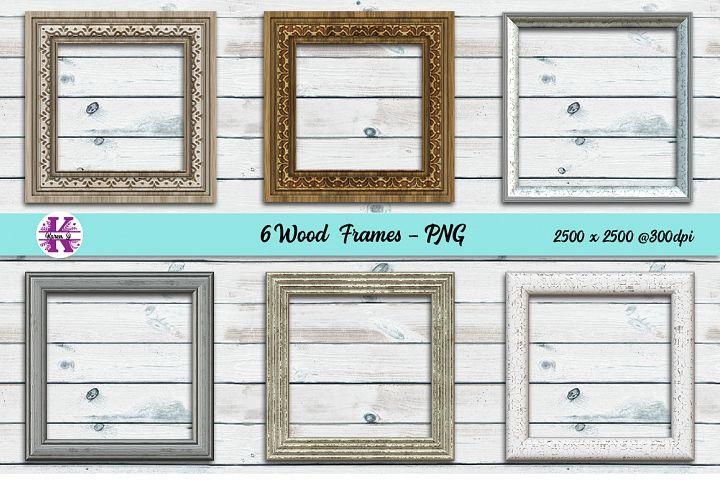 6 Digital Wood Frame PNGs