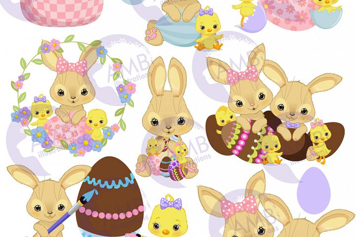 Bunnies and chicks easter clipart, AMB-2729 example image 6