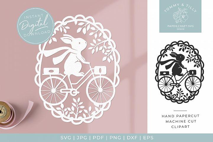 Oval Rabbit Scene - Butterfly SVG Papercut Cutting File