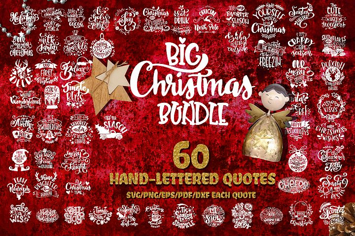 Christmas svg BUNDLE BIG set of 60 quotes