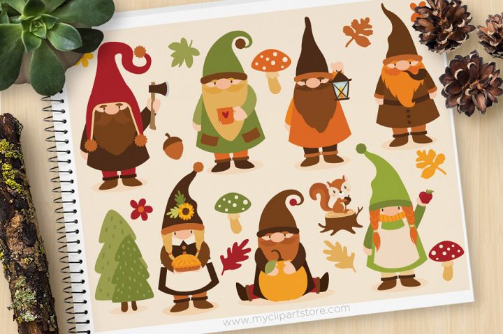 Scandinavian Fall Gnomes Clipart - Vector Clip Art & SVG