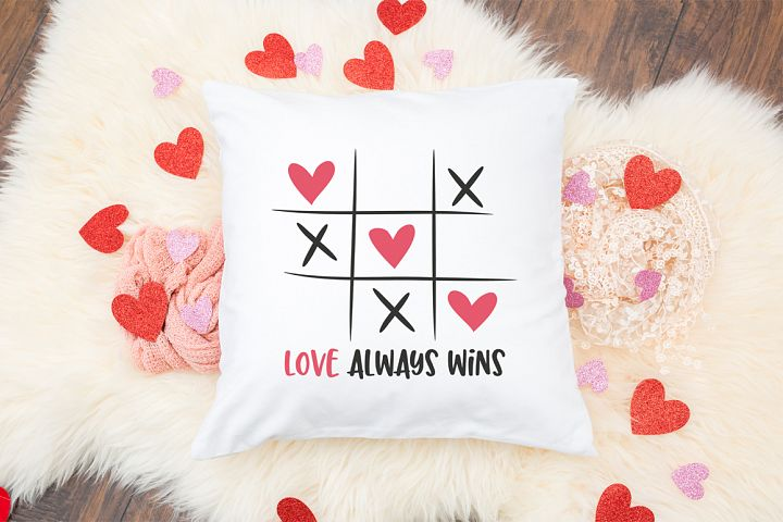 Tic Tac Toe Valentines Day SVG -Love Always Wins