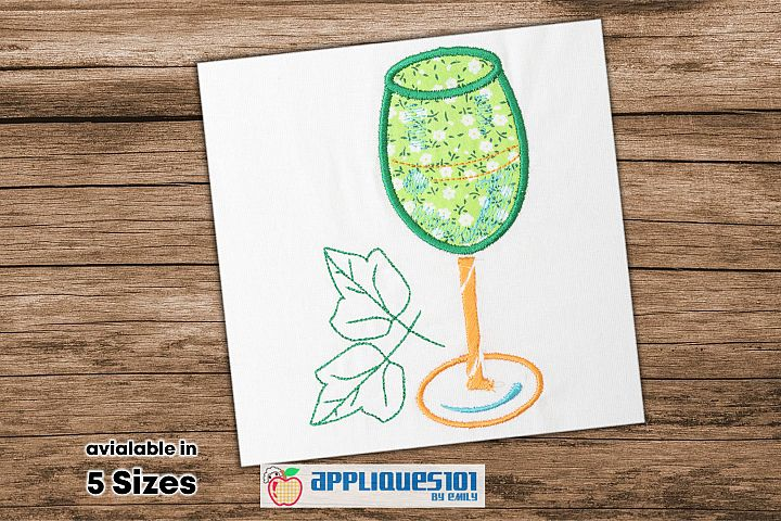 Wine Glass Embroidery Applique Design - Glasses