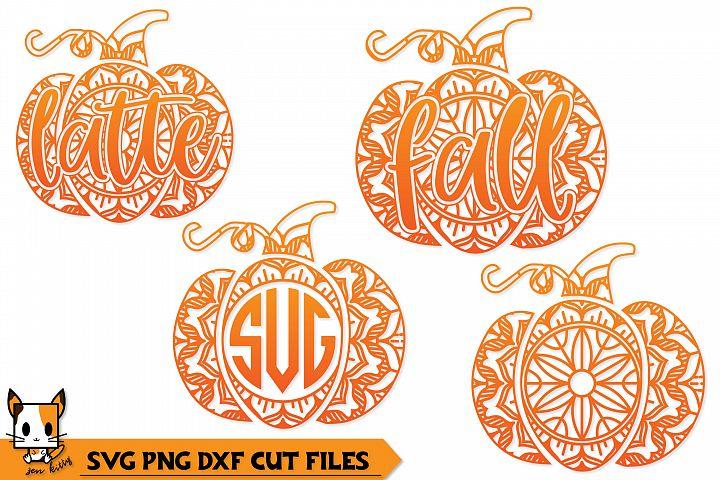 Pumpkin Mandala Monogram Set - Fall SVG PNG DXF Cut Files