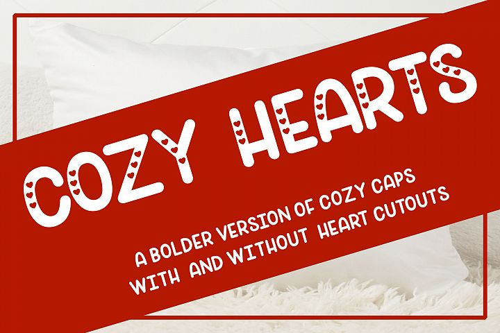 Cozy Hearts Font - A bolder version of Cozy Caps with hearts