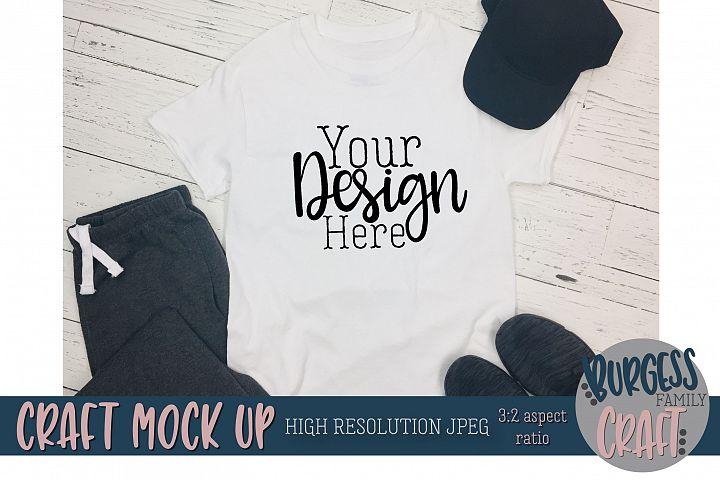 Mens white t-shirt sweats Craft mock up |High Resolution