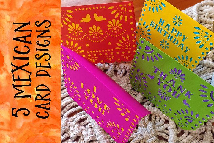 FUN MEXICAN CARD DESIGNS - 5 designs - svg cut files
