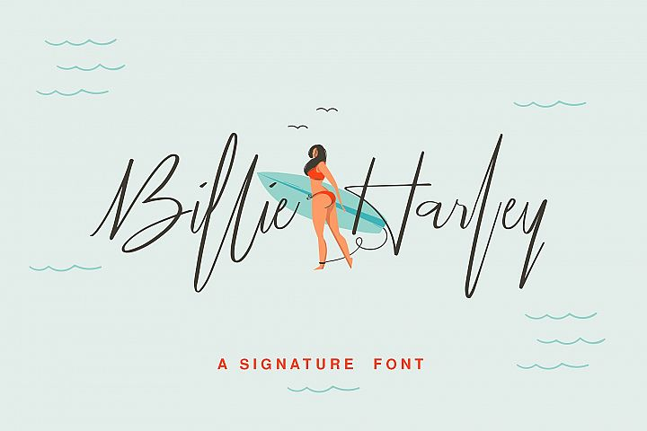 Billie Harley Signature Font example