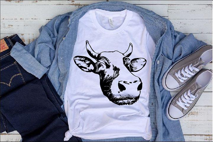Cow Head Whit Horns Tattoo SVG show heifer Farm bull 1283s
