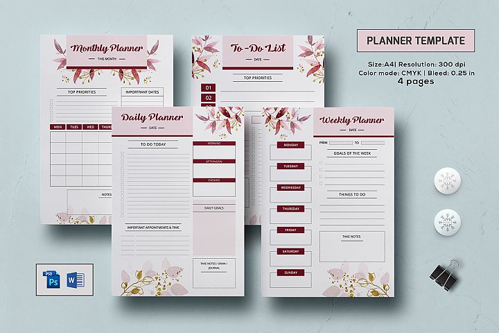Printable Planner Template, Ms Word & Photoshop template