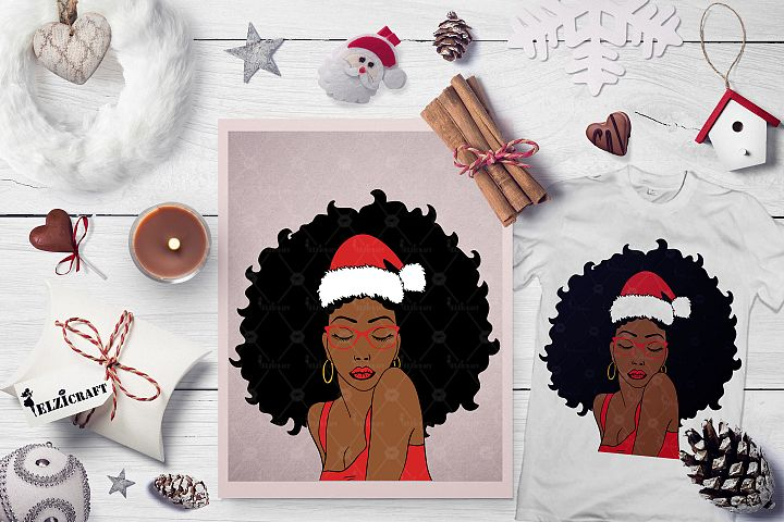 Christmas Afro Woman Santa Hat Melanin Poppin SVG Cut File