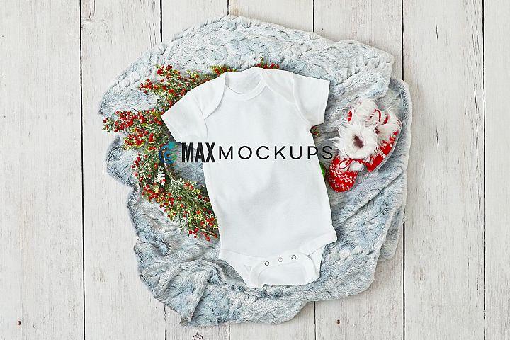 Baby bodysuit Mockup, Christmas Winter styled flatlay, stock