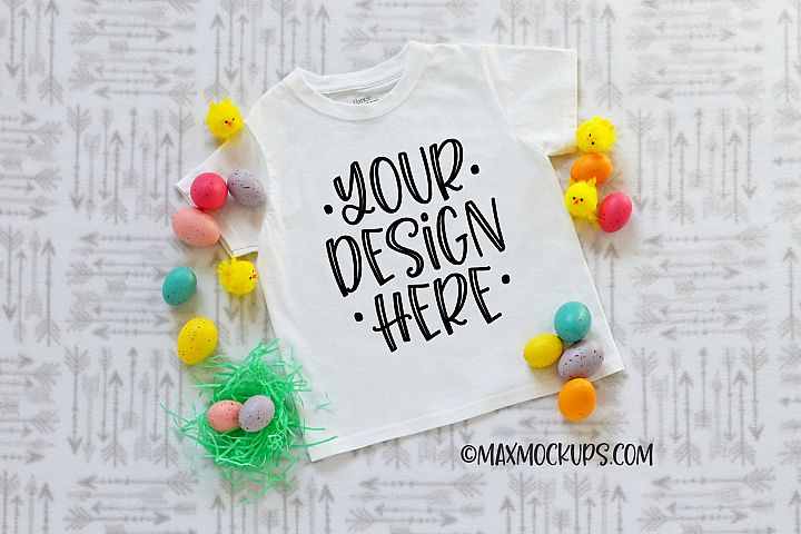 White shirt Kids Easter mockup, Easter eggs chicks flatlay