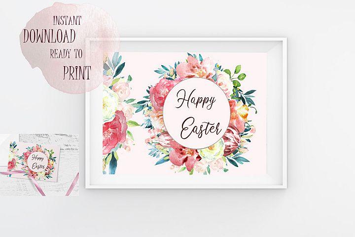 Happy Easter Printable Watercolor Floral