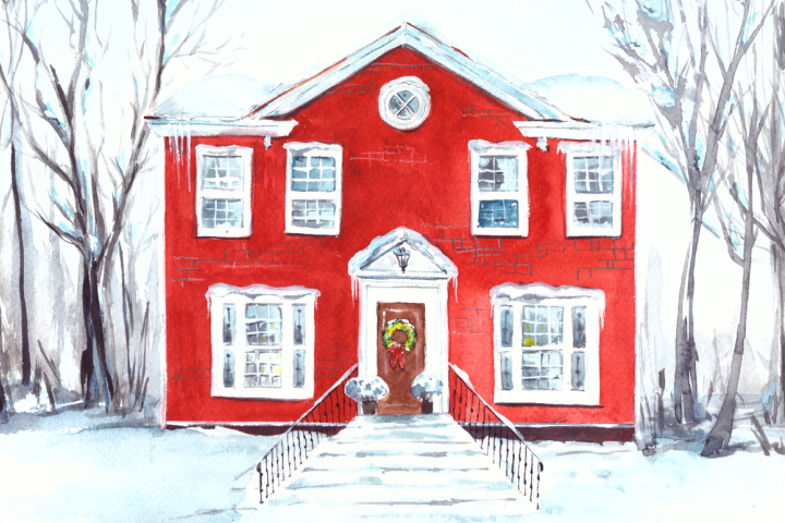Watercolor Christmas House Illustration and Clip Art