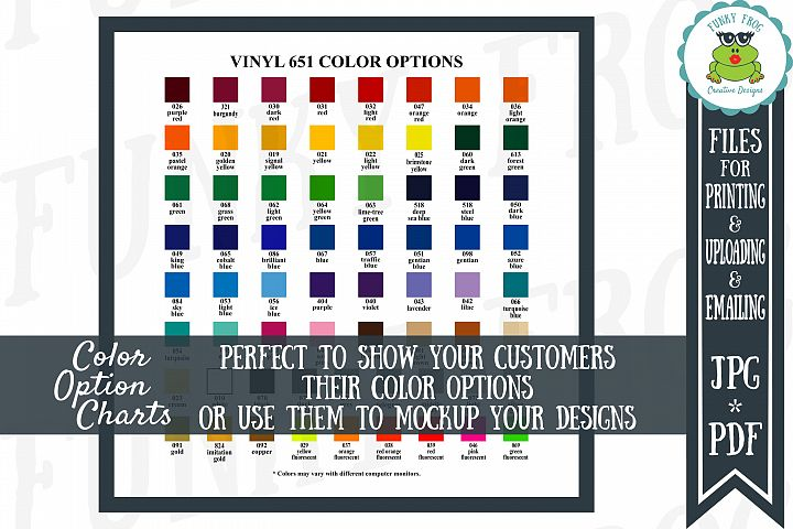 ORACAL 651 Vinyl Color Options Chart - JPG, PDF