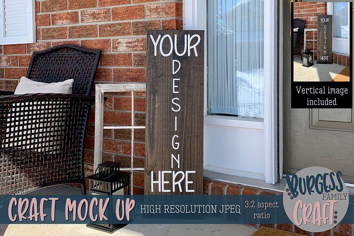Brown porch sign Craft mock up  High Res JPEG