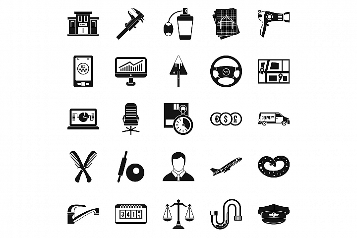 Transport department icons set, simple style