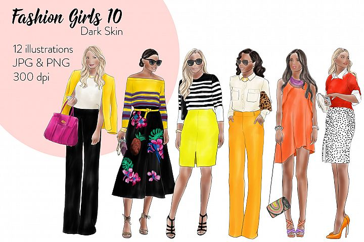 Fashion illustration clipart - Fashion Girls 10 - Dark Skin