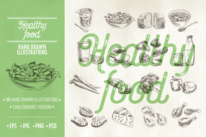 Healthy food illustrations