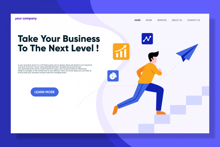 Next Level Business landing page design