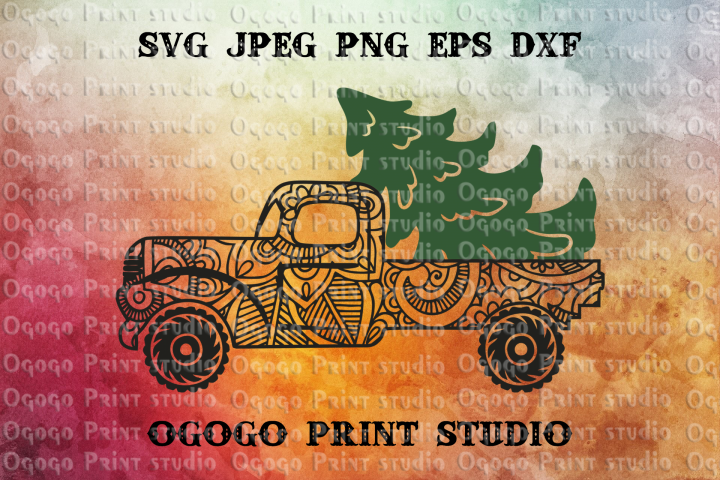 Mandala style Christmas Truck Svg, Christmas SVG, Zentangle