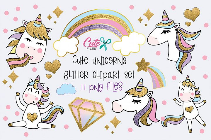 Cute unicorns with glitter clipart set, 11 png files