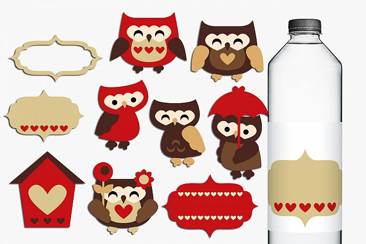 Owls in Love Clip art, Red Brown