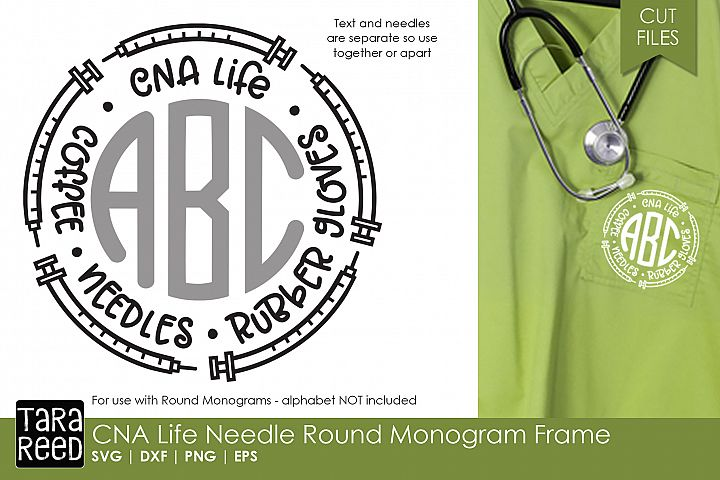 CNA Needle Round Monogram Frame - Nursing SVG & Cut Files