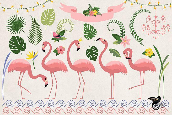Flamingo Paradise Clipart