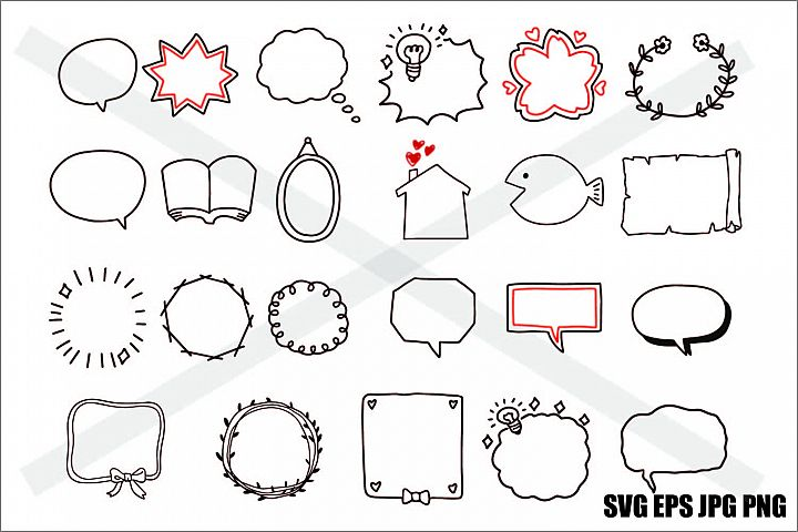 Frame Hand Drawing DIY Set F - SVG-EPS-JPG-PNG