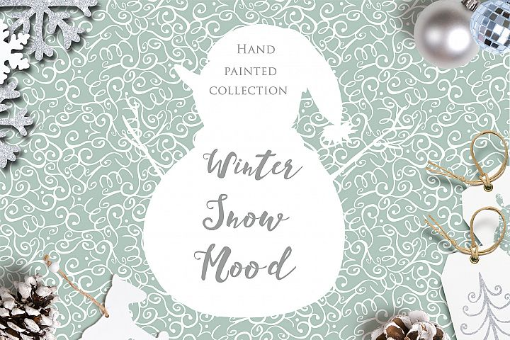 Winter watercolor clipart. Snowmens, snowflakes, patterns