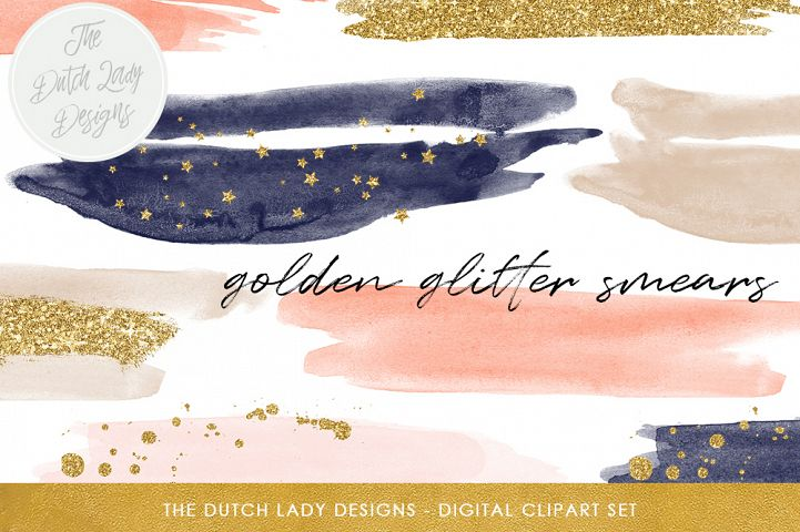 Watercolor Smears In Navy & Blush
