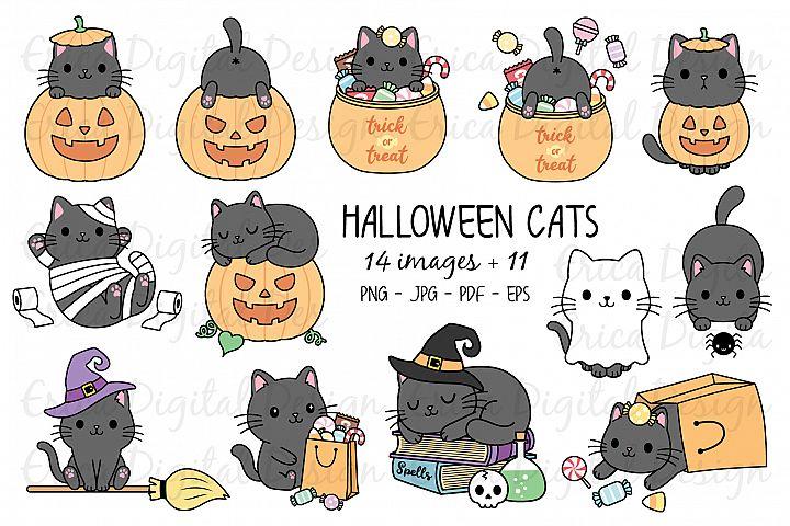 Halloween Cats Clipart set - 25 Cat images - Kawaii - Bundle