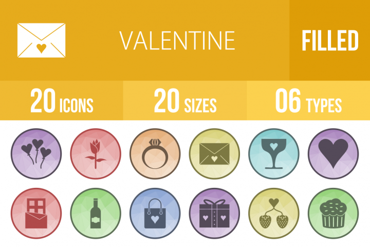 20 Valentine Filled Low Poly Icons Season II