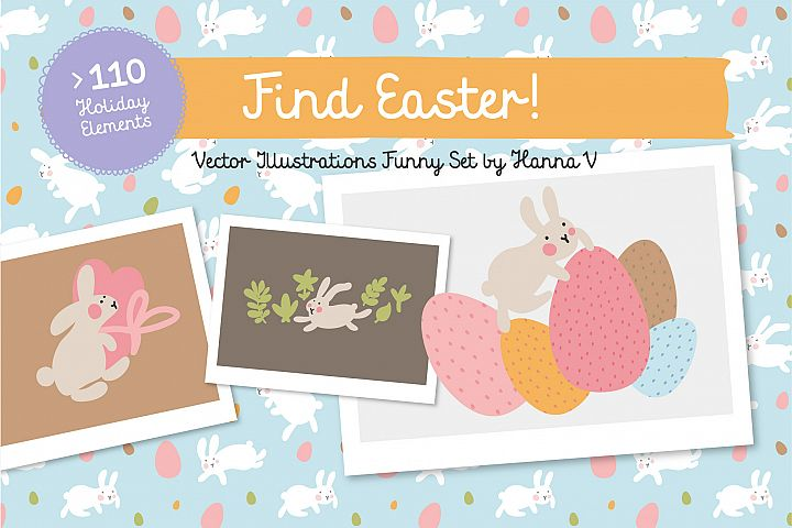 FIND EASTER! FUNNY VECTOR EASTER SET
