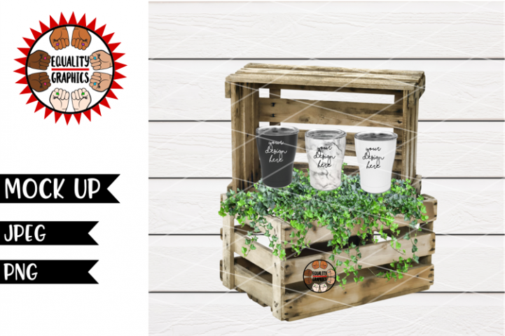 Tumbler Wood Crate Mock Up | JPEG | PNG