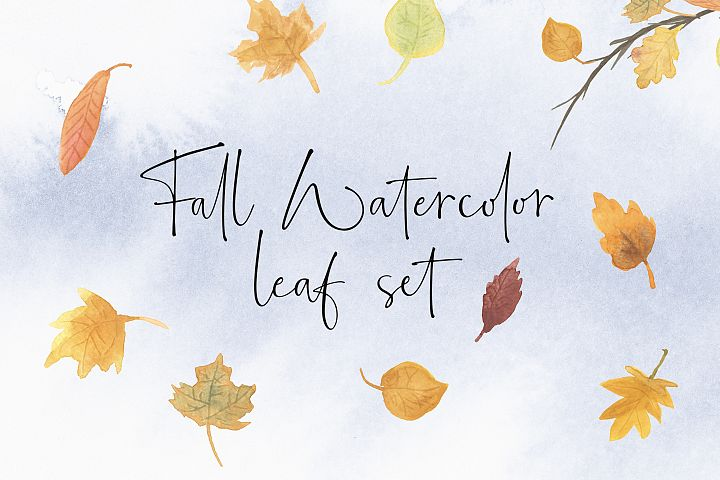 Fall Watercolor leaf set with digital paper